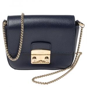 Furla Indigo Leather Mini Metropolis Crossbody Bag