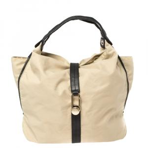 Furla Beige/Black Nylon and Leather Clasp Flap Shoulder Bag