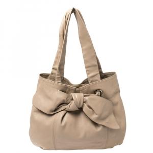 Furla Beige Leather Bow Shoulder Bag