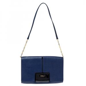 Furla Navy Blue Leather Zizi Chain Clutch