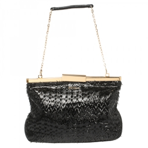 Furla Black Patent and Leather Fringe Chain Clutch