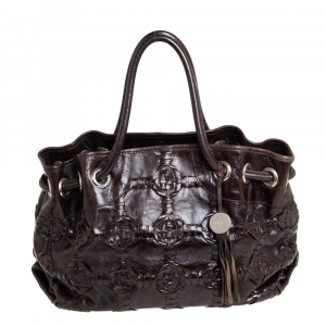 Furla Dark Brown Woven Leather Shoulder Bag