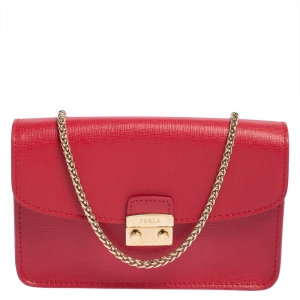 Furla Red Leather Mini Metropolis Crossbody Bag