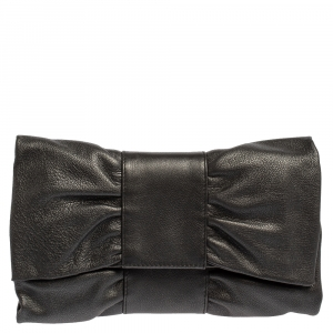 Furla Metallic Grey Leather Bow Clutch