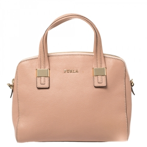 Furla Pink Pebbled Leather Amelie Satchel