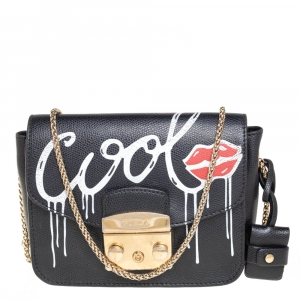 Furla Black Leather Mini Cool Metropolis Crossbody Bag