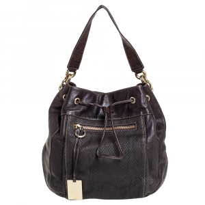 Furla Dark Brown Leather Drawstring Hobo