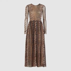 Ganni Animal Leopard Print Mesh Maxi Dress DK  40