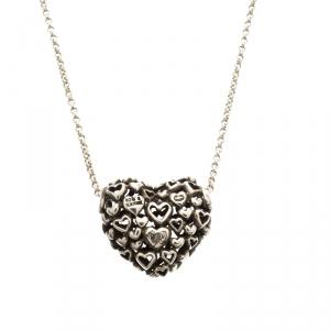 Georg Jensen Multi Heart Silver Pendant Chain Necklace