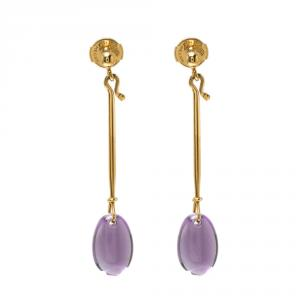 Georg Jensen Dew Drop Amethyst & 18k Yellow Gold Earrings