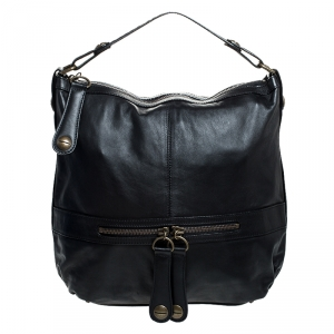Gerard Darel Black Leather Midday Midnight Hobo