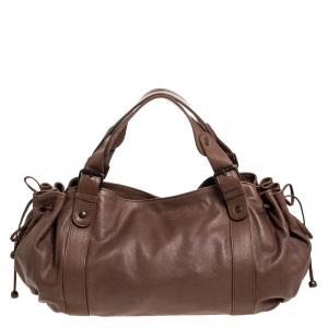 Gerard Darel Light Brown Leather 24 Hour Drawstring Hobo