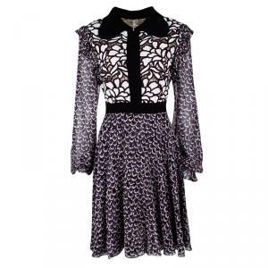 Giambattista Valli Black Printed Silk Georgette Floral Embroidered Ruffled Dress L