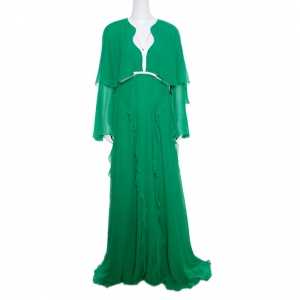 Giambattista Valli Kelly Green Silk Ruffled Tiered Sleeve Evening Gown XL
