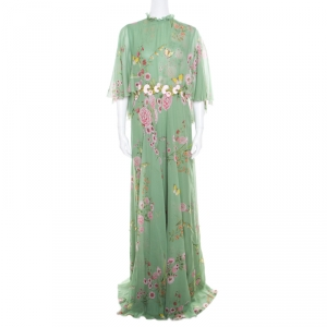 Giambattista Valli Fern Green Floral Printed Silk Cape Style Gown L
