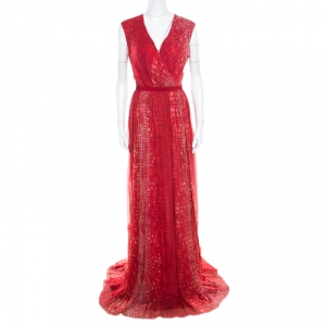 Giambattista Valli Red Crocodile Skin Printed Silk Sleeveless Cocktail Gown L