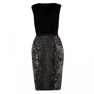 Giambattista Valli Black Croc Print Sleeveless Dress M