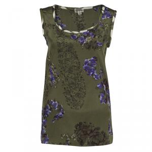 Giambattista Valli Green Floral Printed Silk Sleeveless Top M