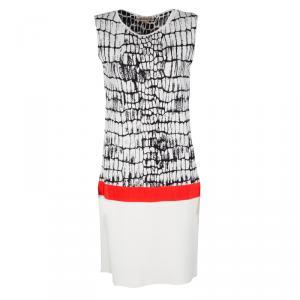 Giambattista Valli Monochrome Jacquard Knit Contrast Waist Detail Sleeveless Dress L - used