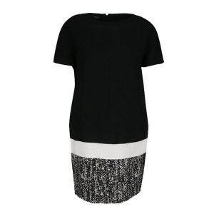 Giambattista Valli Monochrome Drop Waist Wool Shift Dress S - used
