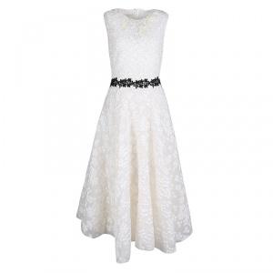 Giambattista Valli White Floral Applique Embroidered Sleeveless Dress M - used