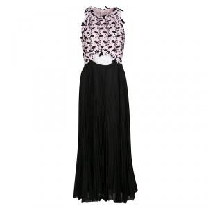 Giambattista Valli Floral Lace Cutout Waist Detail Plisse Maxi Dress M - used