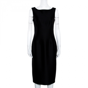 Giambattista Valli Black Silk Wool Sleeveless Pencil Dress S - used