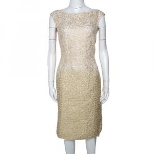Giambattista Valli Gold & Cream Floral Lace Paneled Sheath Dress S used