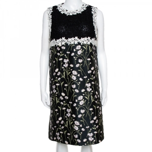 Giambattista Valli Black Floral Jacquard & Lace Mini Dress L - used