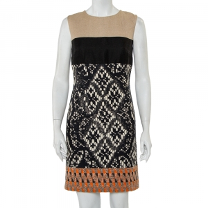 Giambattista Valli Color Block Woven Jacquard Sleeveless Dress XS - used