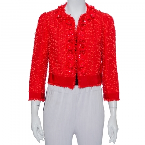 Giambattista Valli Red Floral Embellished Tweed Open Front Shrug M