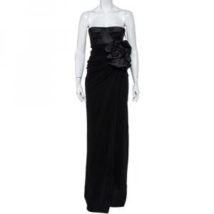 Giambattista Valli Black Silk Draped Bustier Detail Faux Wrap Gown S - used