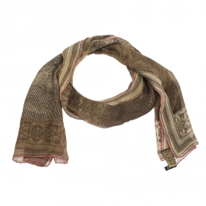 Gianfranco Ferre Brown Abstract Printed Silk Scarf