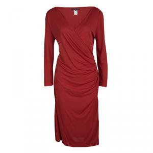 Gianfranco Ferre Red Ruched Draped Long Sleeve Dress L