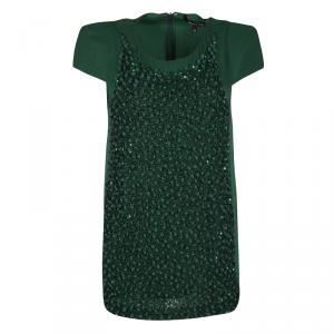 Gianfranco Ferre Dark Green Silk Embellished Cap Sleeve Top L
