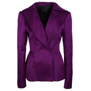 Gianfranco Ferre Purple Satin Tailored Blazer M