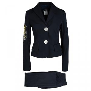 GF Ferre Navy Blue Logo Patchwork Detail Pants and Jacket Set S