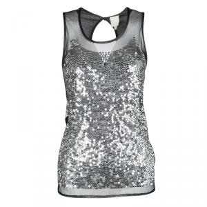Gianfranco Ferre Sequin Embellished Sheer Front Sleeveless Tank Top S
