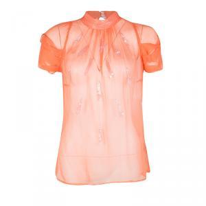 Gianfranco Ferre Orange Sequin Embellished Sheer Silk Blouse M