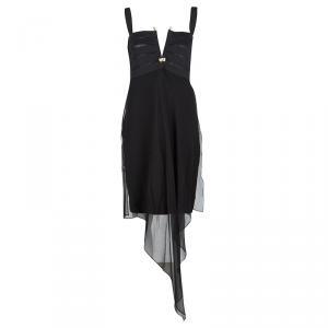 Gianfranco Ferre Black Draped Silk Embellished Sleeveless Dress M - used
