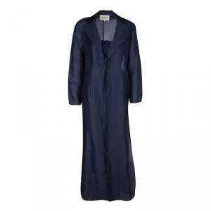 Gianfranco Ferre Vintage Navy Blue Silk Long Coat and Trousers Set M
