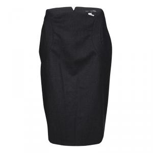 Gianfranco Ferre Dark Grey Wool Pencil Skirt M