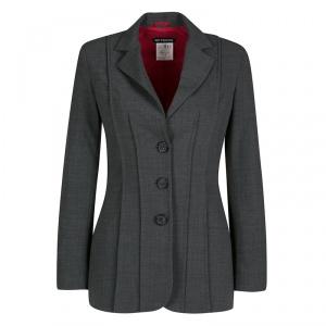 GF Ferre Grey Pintuck Stitch Detail Tailored Three Button Blazer S