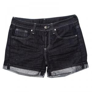 GF Ferre Indigo Dark Wash Metallic Denim Shorts S used