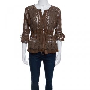 Gianfranco Ferre  Brown Lace Tassel Tie Detail Jacket M