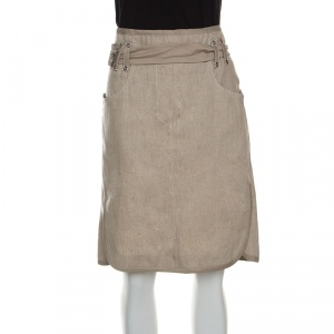 Gianfranco Ferre Beige Linen Belted Skirt L