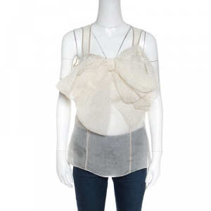 Gianfranco Ferre Cream Sheer Silk Paneled Bow Front Sleeveless Top M