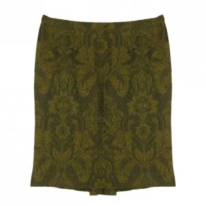 Gianfranco Ferre Green Brocade Skirt XL