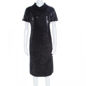 Gianfranco Ferre Black Sequin Embellished Wool Dress M - used