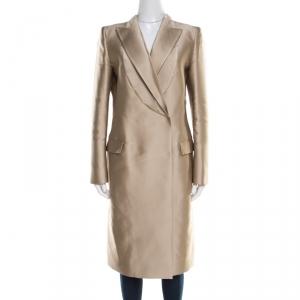 Gianfranco Ferre Beige Satin Double Breasted Dress Coat M